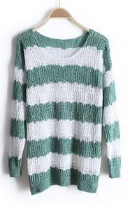 Green White Striped Long Sleeve Hollow Sweater