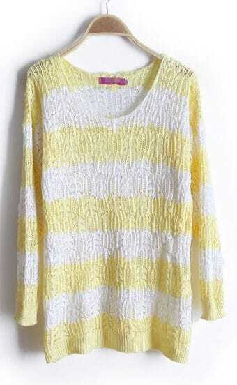 Yellow White Striped Long Sleeve Hollow Sweater