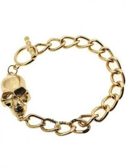 Gold Skull Chain Link Bracelet