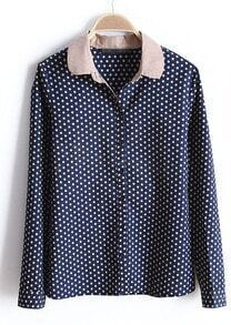 Navy Contrast Collar Long Sleeve Polka Dot Blouse