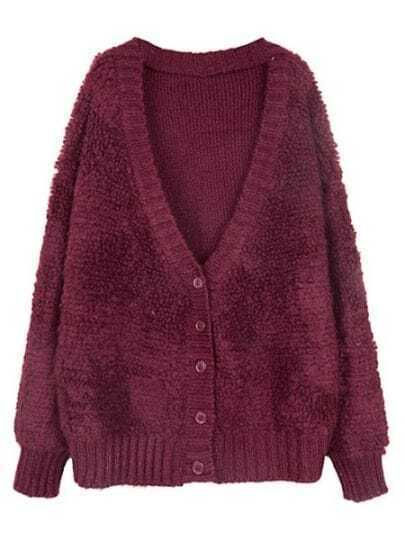 Wine Red V Neck Long Sleeve Knit Cardigan Sweater