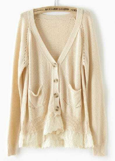 Apricot Long Sleeve Lace Pockets Cardigan Sweater