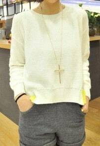 Beige Long Sleeve Split Cable Pullover Sweater