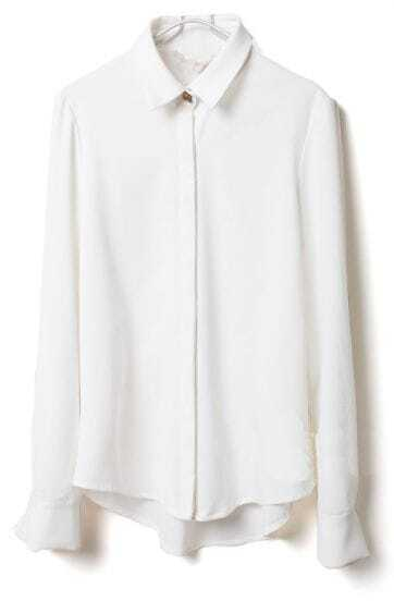 White Lapel Long Sleeve Skull Rivet Blouse