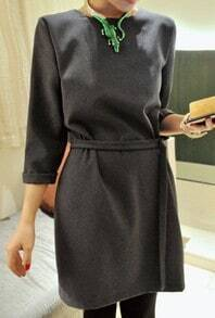 Grey Long Sleeve Drawstring Waist Dress