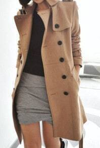 Khaki Long Sleeve Drawstring Waist Epaulet Coat