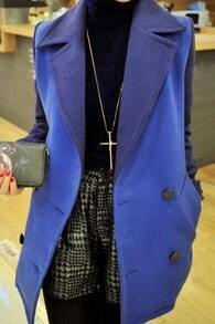 Blue Notch Lapel Long Sleeve Pockets Coat