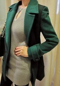 Green Notch Lapel Long Sleeve Pockets Coat