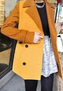 Yellow Notch Lapel Long Sleeve Pockets Coat