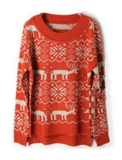Orange Deer Snowflake Pattern Asymmetric Hem Sweater