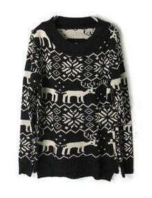Black Deer Snowflake Pattern Asymmetric Hem Sweater