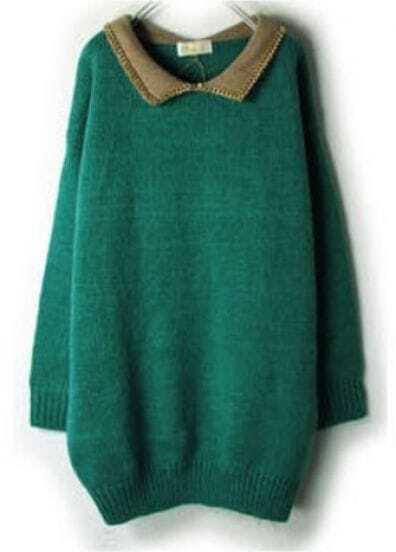 Green Contrast Lapel Long Sleeve Loose Sweater