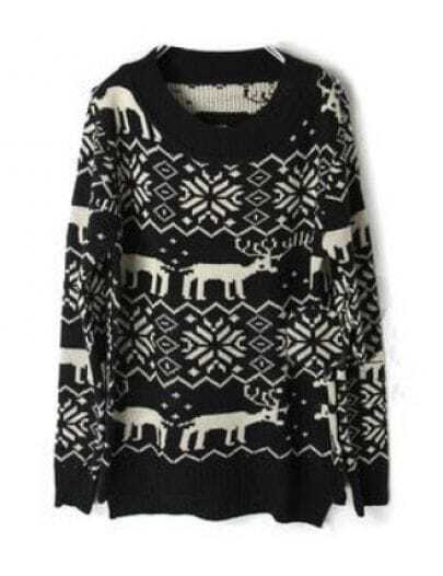 Black Deer Snowflake Pattern Asymmetric Hem Sweater