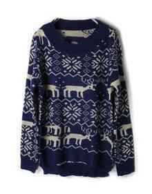 Navy Deer Snowflake Pattern Asymmetric Hem Sweater