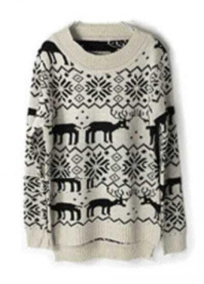 Beige Deer Snowflake Pattern Asymmetric Hem Sweater