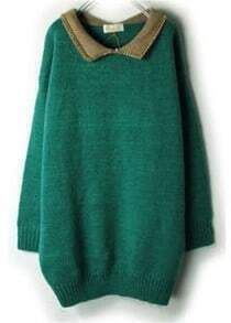 Green Contrast Lapel Long Sleeve Loose Sweater
