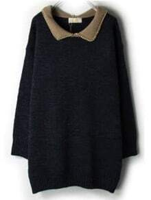 Navy Contrast Lapel Long Sleeve Loose Sweater