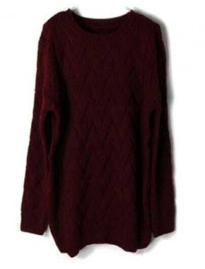 Wine Red Batwing Long Sleeve Weave Pattern Sweater