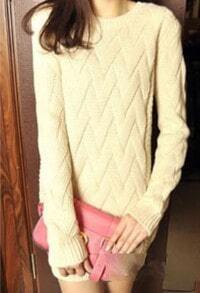 Beige Batwing Long Sleeve Weave Pattern Sweater