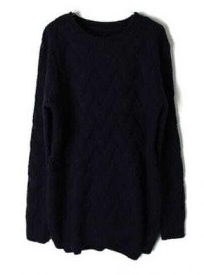 Navy Batwing Long Sleeve Weave Pattern Sweater