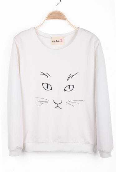 White Long Sleeve Cat Print Loose Sweatshirt