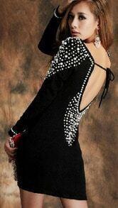 Black Long Sleeve Beading Backless Sweater Dress