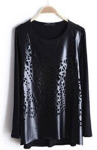 Black Long Sleeve Hollow PU Leather T-Shirt