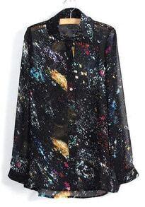 Black Long Sleeve Starlight Galaxy Print Chiffon Blouse