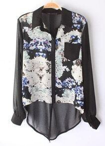 Black Long Sleeve Floral Asymmetrical Chiffon Blouse