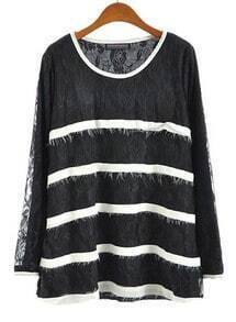 Black Long Sleeve Striped Loose Lace Blouse