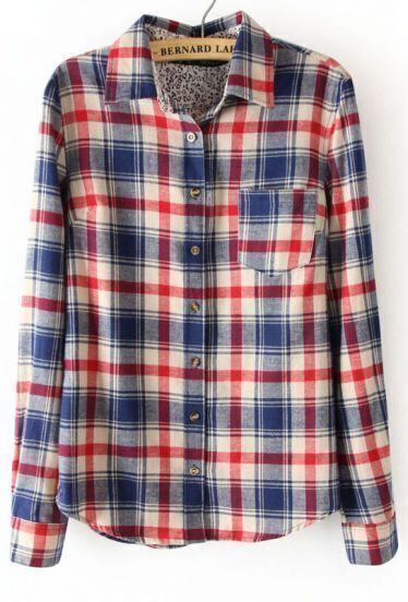 White Long Sleeve Plaid Lining Floral Blouse