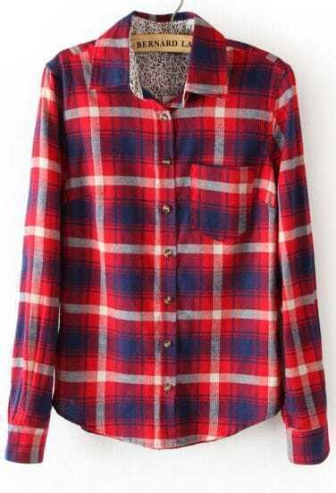 Red Long Sleeve Plaid Lining Floral Blouse