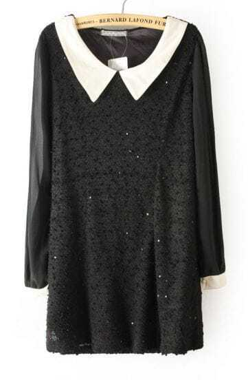 Black Contrast Collar Sequined Lace Dress