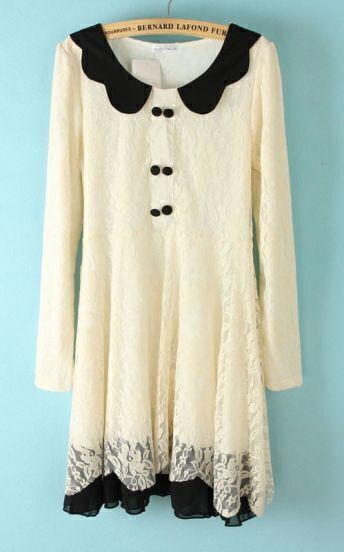 White Contrast Zigzag Collar Buttons Lace Dress