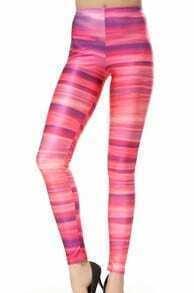 Pink Elastic Striped Leggings