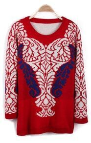 Red Long Sleeve Retro Pattern Pullover Sweater
