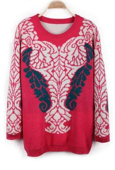 Rose Red Long Sleeve Retro Pattern Pullover Sweater