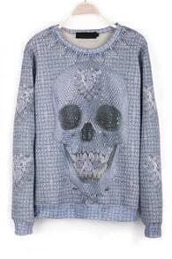 Grey Long Sleeve Skull Pattern Rhinestone T-Shirt