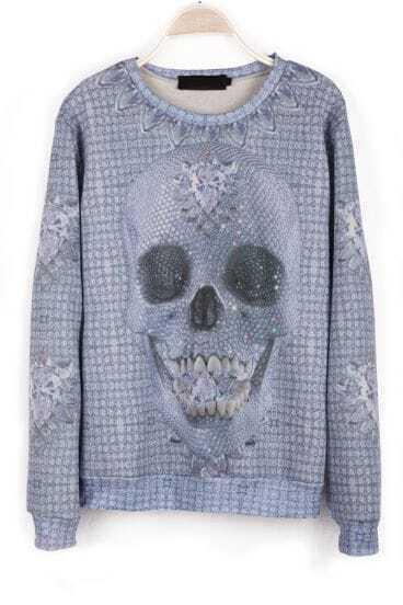 Grey Long Sleeve Skull Pattern Rhinestone T-Shirt