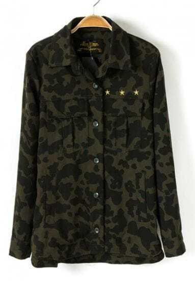 Green Camouflage Long Sleeve Leopard Print Coat