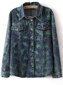 Blue Lapel Long Sleeve Cats Print Denim Blouse