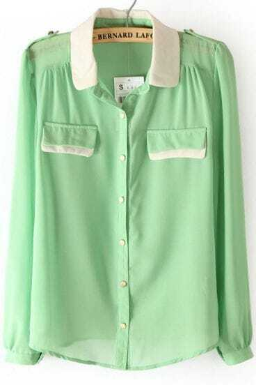 Light Green Contrast Collar Epaulet Chiffon Blouse