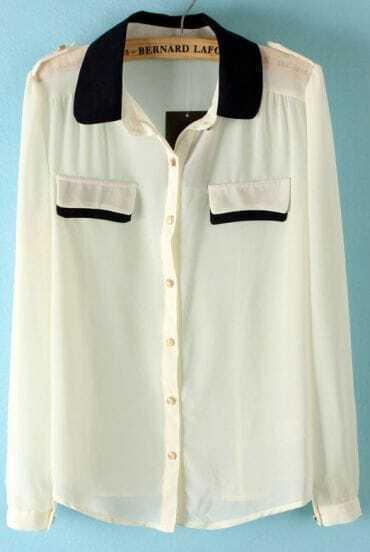 White Contrast Collar Epaulet Chiffon Blouse