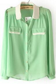 Light Green Contrast Collar Epaulet Chiffon Blouse
