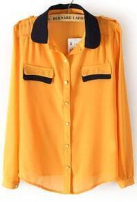 Yellow Contrast Collar Epaulet Chiffon Blouse