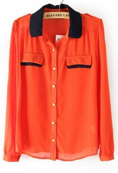 Orange Contrast Collar Epaulet Chiffon Blouse