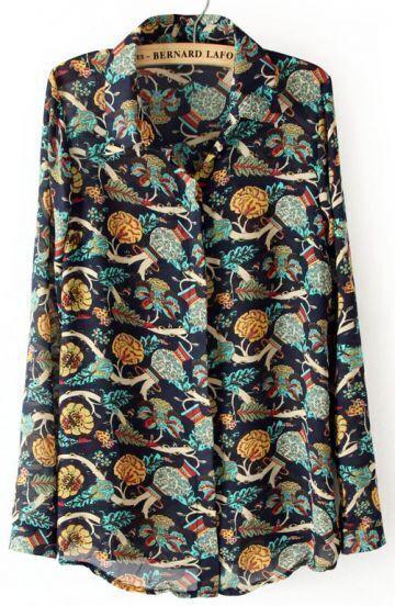 Navy Long Sleeve Vase Print Chiffon Blouse