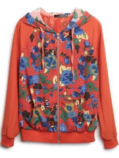 Orange Hooded Long Sleeve Zipper Floral Coat