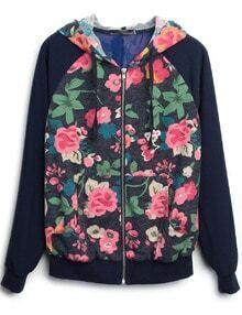 Navy Hooded Long Sleeve Zipper Floral Coat