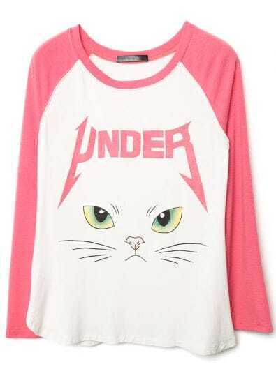 Pink White Long Sleeve Cat Face Print T-Shirt